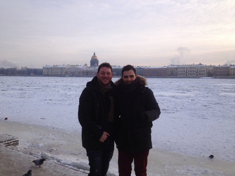 With my Greek friend Nik, next to the frozen Neva river