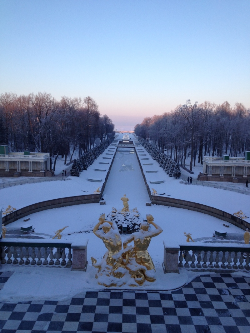 Peterhof fountains covered in white